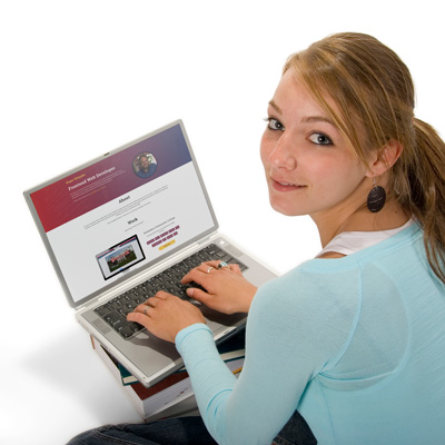 Woman using a laptop on the internet
